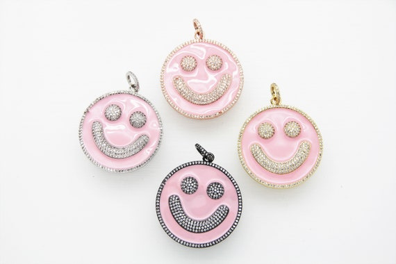 CZ Micro Pave Pink Enamel 38mm Smiley Disc