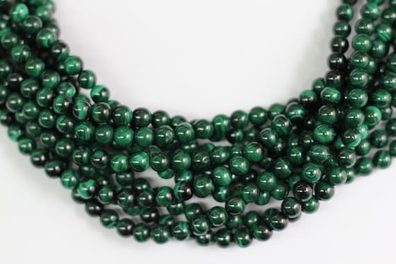 "Genuine Malachite 8mm smooth round beads 16"" length full strand"