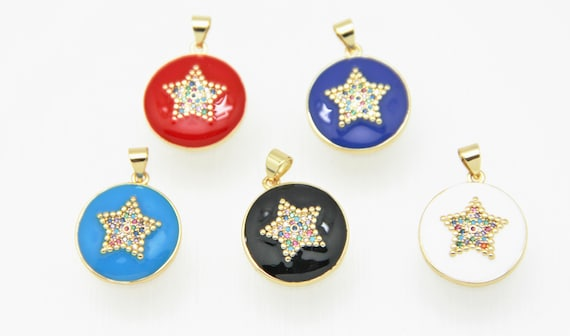 CZ Micro Pave Enamel 19mm Disc with Star Charm