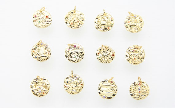 CZ Micro Pave 15mm Disc Signs of Zodiac Charm with Jump Ring