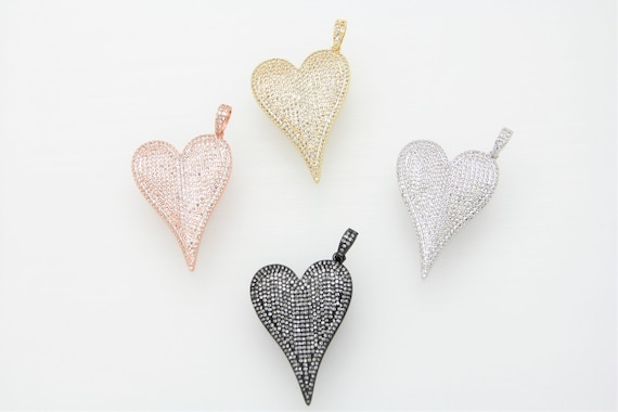 CZ Micro Pave 30x40mm Long Heart Pendant
