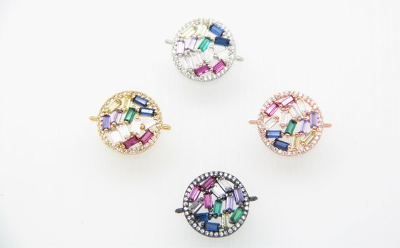 Mixed CZ Micro Pave 18mm Flat Disc Connectors With Loop
