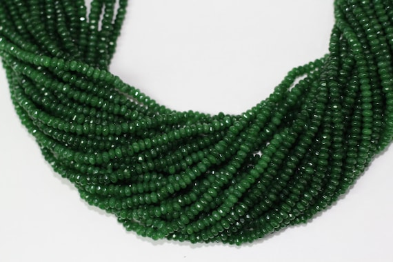 "Emerald Jade 4x2mm faceted roundel beads 16"" length full strand"