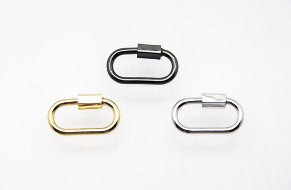Plain Brass 15x30mm Oval Screw Clasp Carabiner