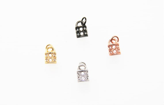 CZ Micro Pave 7x10mm Lock Charm with Jump Ring