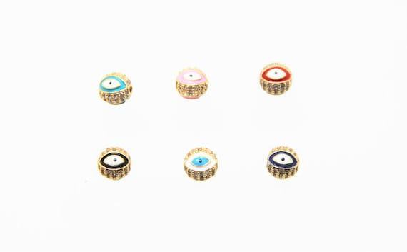 CZ Micro Pave Enamel 8mm Evil Eye Round Beads