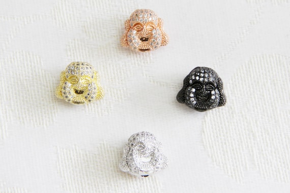 CZ Micro Pave 14x16mm  Buddha Head  Beads