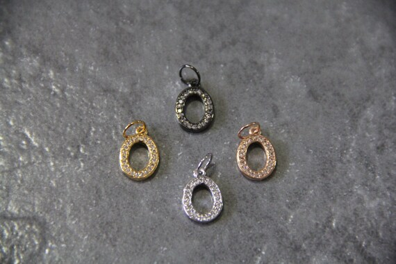 """CZ Micro Pave Letter """"O"""" Charm with Jump Ring"""