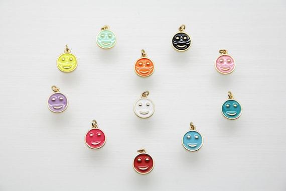 Enamel 11mm Smiley Pendant