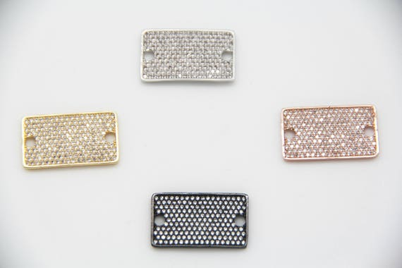 CZ Micro Pave 15x26mm Flat Rectangle Connectors With Hole