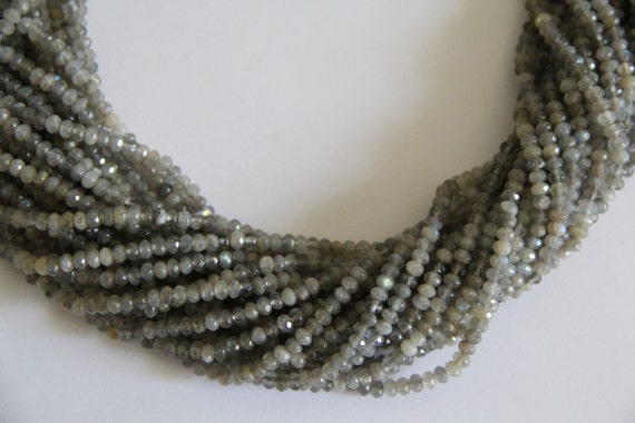"Labradorite 4x2mm faceted roundel beads 16"" length full strand"
