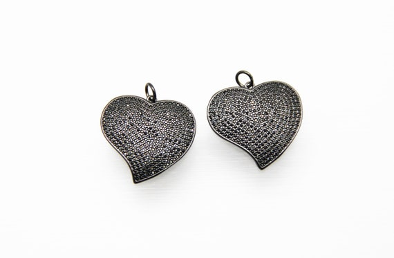 CZ Micro Pave 28mm Crooked Heart Pendant