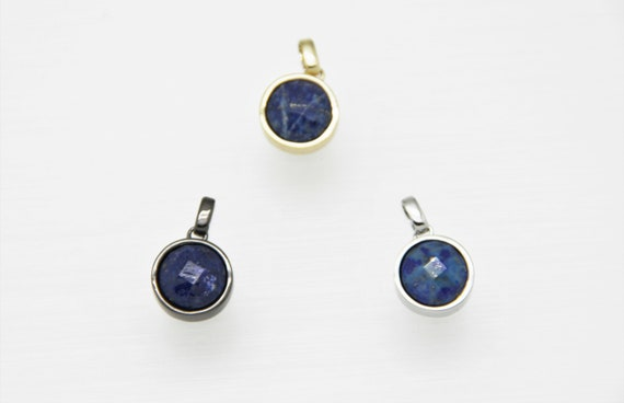 Lapis lazuli 12mm Coin Shape Brass Bezel Setting Pendant