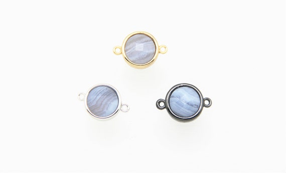 Blue Lace Agate 12mm Coin Shape Brass Bezel Setting Connector