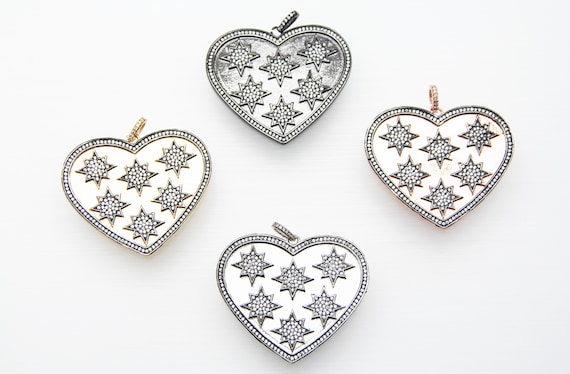 CZ Micro Pave 45mm Heart With Starburst Pendant