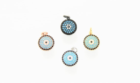 Turquoise Color CZ Micro Pave 12mm Disc Charm