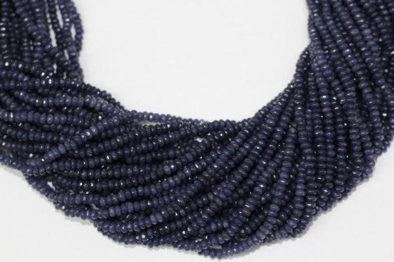 "Sapphire Jade 4x2mm faceted roundel beads 16"" length full strand"