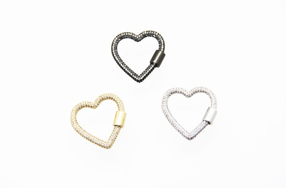 CZ Micro Pave 26mm Heart Screw Clasp Carabiner