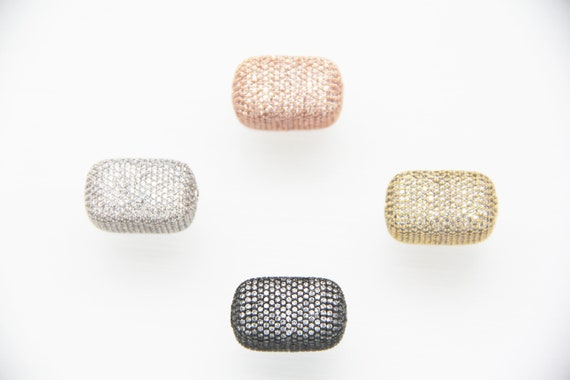 CZ Micro Pave 13x13x22mm  Cuboid  Beads