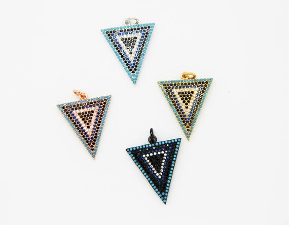 Mix Color CZ Micro Pave 20x22mm Triangle Pendant
