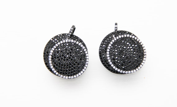 Black CZ Micro Pave 30mm Off Center Disc Pendant with CZ Bail