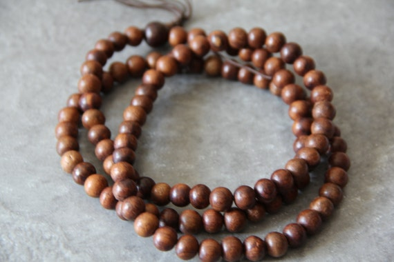 "Date Wood 10mm round beads, 108 pcs, 40"" long full strand"