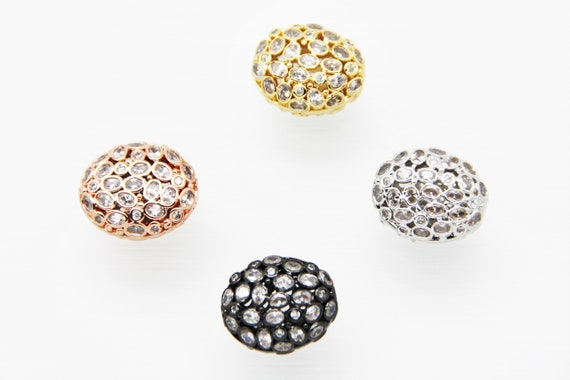 CZ Micro Pave 16x19mm  Free Form CZ Oval Beads