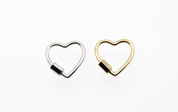 Plain Brass 22mm Heart Screw Clasp Carabiner