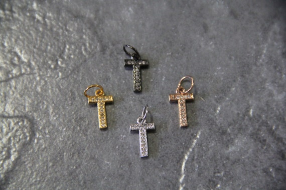 "CZ Micro Pave Letter ""T"" Charm with Jump Ring"