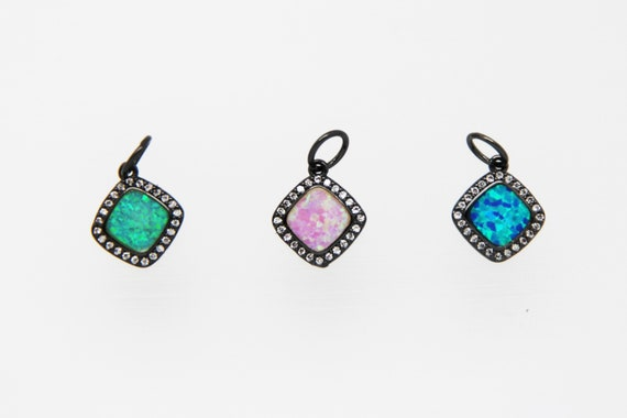 Synthetic Opal With CZ Micro Pave 11mm Square Charm