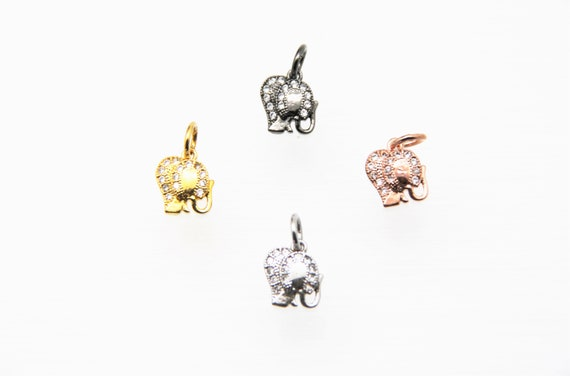CZ Micro Pave 10mm Elephant Charm with Jump Ring