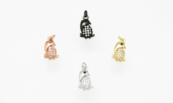CZ Micro Pave 8x11mm Penguin Charm with Jump Ring