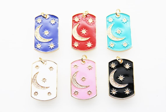 CZ Micro Pave Enamel 21x32mm Tag With Star & Moon Pendant