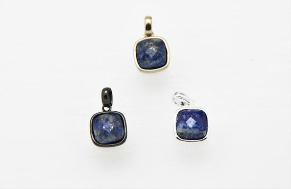 Lapis lazuli 10x10mm Square Shape Brass Bezel Setting Pendant