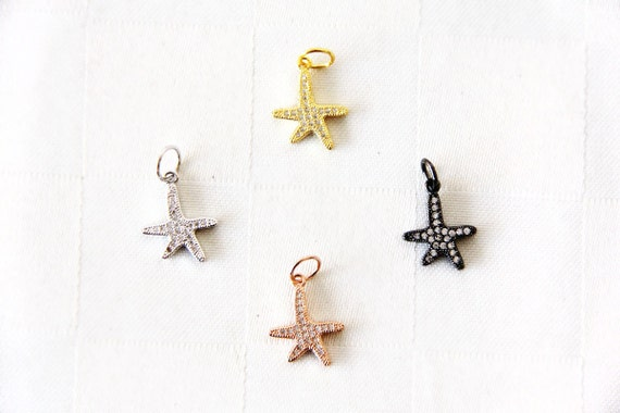 CZ Micro Pave 15mm Starfish  Charm with Jump Ring