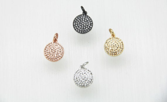 CZ Micro Pave 12mm Disc  Charm with Jump Ring