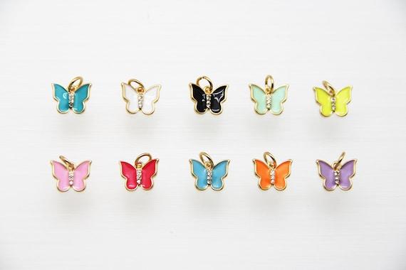 CZ Micro Pave Enamel 11mm Butterfly Pendant