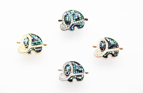 Abalone Mosaic With CZ Micro Pave 15x18mm Elephant Connectors