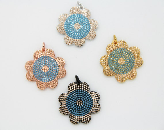 Mix Color CZ Micro Pave 23mm Flower Pendant