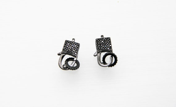 Black CZ Micro Pave 9x16mm Lobster Clasp
