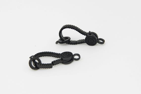 Black CZ Micro Pave 8x25mm Lobster Clasp