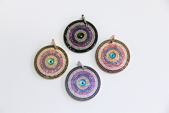 CZ Micro Pave 33mm  Evil Eye Disc Pendant
