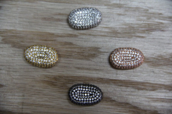 CZ Micro Pave 13x20mm  Wave Oval  Beads