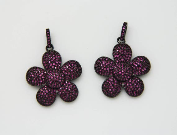 Ruby CZ Micro Pave 25mm Flower Pendant With CZ Bail