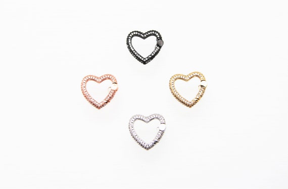 CZ Micro Pave 20mm Heart Spring Clasp