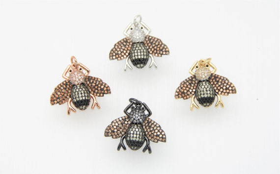 CZ Micro Pave 20x23mm Flying Insect Pendant