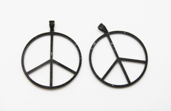 Black CZ Micro Pave 75mm Peace Sign Pendant With CZ Bail
