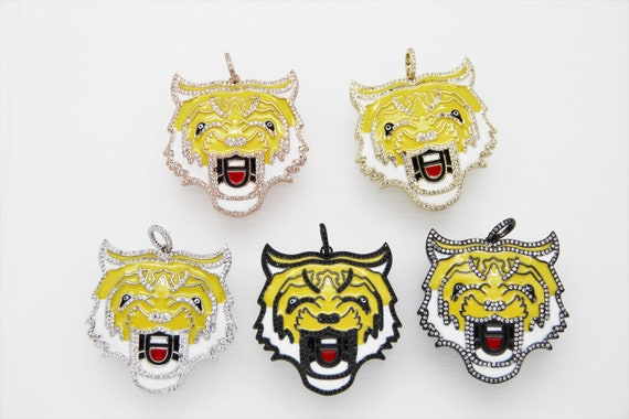 CZ Micro Pave Yellow Enamel 40mm Tiger Head