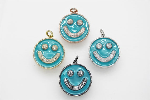 CZ Micro Pave Blue Enamel 38mm Smiley Disc