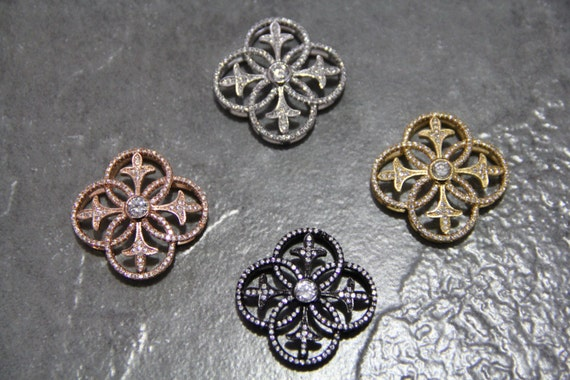 CZ Micro Pave 33mm Hollow Flower  Beads